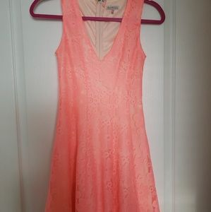 Coral dress with lace